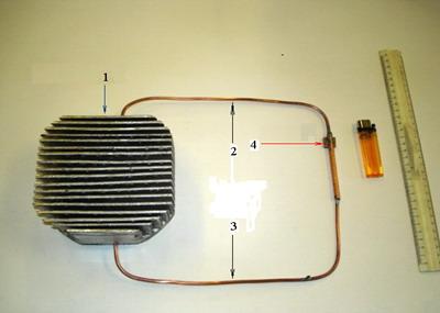 Контурная тепловая труба: 1 – радиатор, 2 – паропровод, 3 – конденсатопровод, 4 – зона подвода тепла